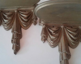 Pair of Vintage Wall Shelves Sconses Syroco French