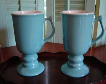 Vintage Hall USA aqua and ivory Irish coffee pedestal mugs 2 pc set retro chic collectibles blue or turquoise decor kitchen decor