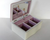 Vintage Ballerina Musical Jewelry Box, Pink Ballet Slippers, storage, Girl's Room, gift idea