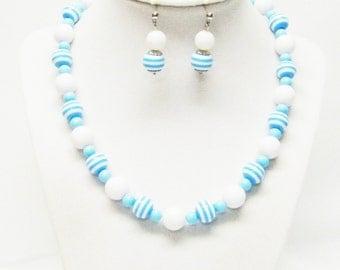White w/Blue Swirl Acrylic Bubble Gum Bead Necklace & Earrings