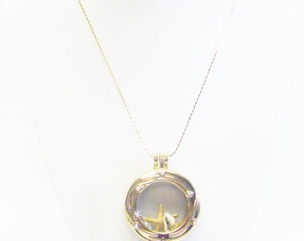 Round Gold Plated Oceanside Glass Locket Filled w/Charms Necklace