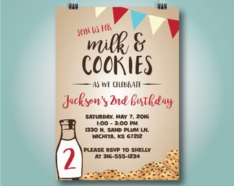 Milk and Cookies Birthday Invitation, Cookies & Milk Invitation,Red, Boy Second Birthday