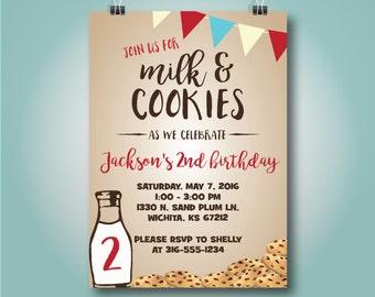 Milk and Cookies Birthday Invitation, Cookies & Milk Invitation,Red, Boy Second Birthday