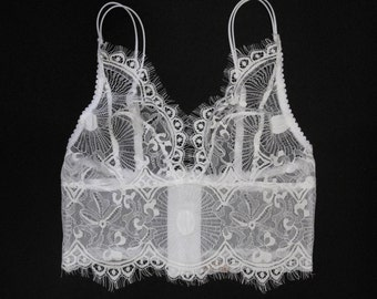 White chantilly Lace bra Top without underwire
