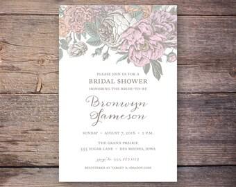 Bridal Shower Invitation   Printable Bridal Shower Invite   Flora, Script   Digital File   Bronwyn Collection