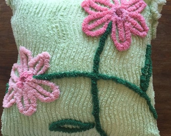 Vintage Chenille Bedspread Upcycled into 16 inch Square Pillow