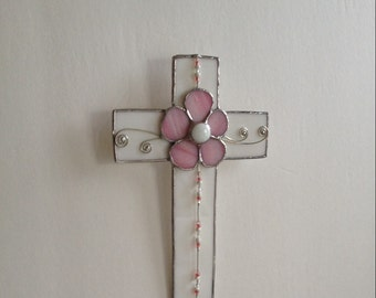 Stained Glass Cross Wall Hanging with Pink Flower