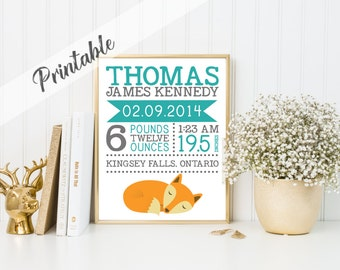 PRINTABLE, Birth Announcement Print, Fox Wall Art, Digital Birth Stat Print, Name Print, Woodland Nursery, Personalized Baby Art, A-1021