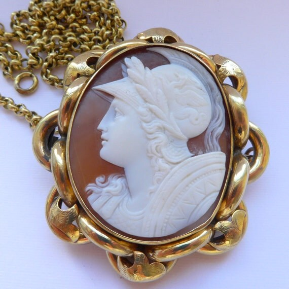 Antique Shell Cameo of Athena Pendant