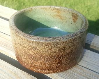 Salt Glazed Brown Green Tan Bowl, Hand Thrown Stoneware Pottery