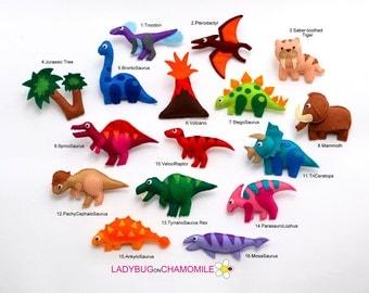 DINOSAURS felt Magnets - Price per 1 item, Dinosaurs magnets,Dinosaur toy, T-Rex, Brontosaurus, Raptor, Mammoth, Saber tooth tiger, Dinosaur
