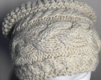 Handknit wool cabled slouch hat