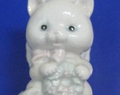 Vintage White Ceramic Cat Angel Ornament 1992 by Summit, made in Taiwan