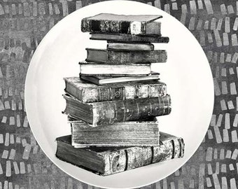 Stack of old Books melamine plate