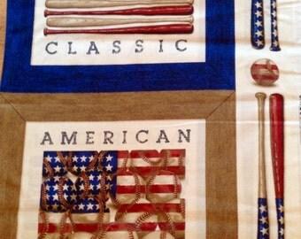 Fabric Panel American Flags Baseball Cushions Wall hanging Quilting