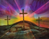Set of 3 Greeting cards, religious, 3 crosses,greeting cards, alcohol ink art, blank inside, cross, original art card, Easter