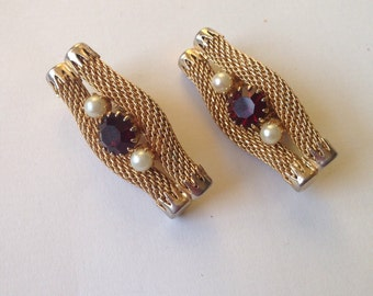 Vintage Corocraft  Gold Tone Faux Pearl , Ruby Red Clip on Earrings/ Pat  280950 / Made in England