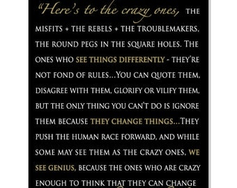 Steve Jobs. Insprational Quotes wall art, Here's to the crazy ones, custom canvas