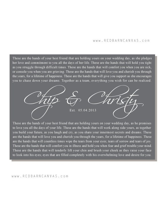 Blessing Of The Hands These Hands Wedding Vows On Canvas