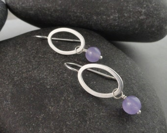 Lavender Chalcedony and Sterling Silver Earrings Ear-397