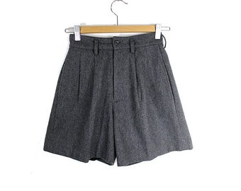 90s WOOL SHORTS highwaisted small grey