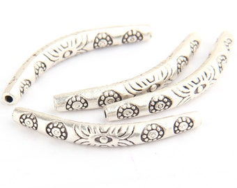 Curved Tube Bead Spacer, Matte Silver Plated, 4 pcs // SB-085