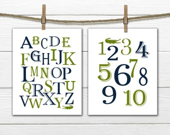 Alligator Alphabet  and Number Print Alligator Nursery - 2 Piece Set
