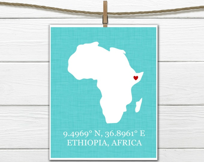 Africa Silhouette  Print  - Nursery Print - Adoption gift - Canvas Available All countries and States available. Safari  Nursery