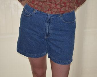 Blue Jean Shorts, Size 10P, High Waisted Shorts, Liz Claiborne Shorts, Vintage Women's Shorts, Ladies' High Waist Jean Shorts, BOHO, Hipster