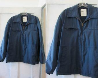 Navy Blue Mens Work Jacket - Uniform - Zip Front - Cotton - Polyester - Knit Cuffs - Zipper Pockets