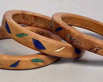Olivewood Bangles with Lapis, Turquoise, Malachite and Gold Leaf