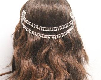 Wedding hair accessories,Boho hair warp,Wedding hair piece,bohemian wedding headpiece,silver hair vine,boho headband,Bridal headpiece,Bridal