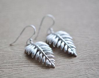 Leaf Earrings - Fern Leaf Earrings - Sterling Silver Fern Earrings - Woodland Jewelry - Gift For Women - Nature Jewelry