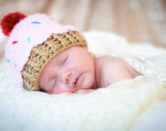 Crochet baby beanie CUPCAKE hat  premie newborn 0-3 month infant  boy or girl photo prop pink blue brown white