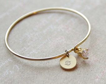 Personalised gold cuff bangle - Crystal heart bracelet