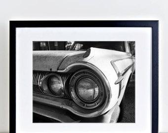AROUND THE CORNER: 8 x 10 Old Car Headlight Black & White Photograph