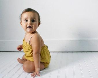 linen baby romper, mustard romper, little girls clothing, linen clothing