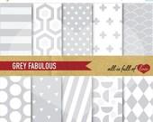 80% off GREY Digital Paper SCRAPBOOK Digital Paper Kit Background Patterns Digital Download 12/15