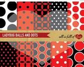 80% off LADYBUG Papers Digital Backgrounds to print RED BLACK Scrapbook Patterns Quatrefoil Polka Dots Balls