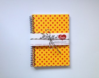 Yellow Red Notebook Polka Dots Card stock Journal Spiral Bound Notebook little sketch book pocket size journal handmade notebook A6