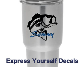Yeti Tumbler Tervis Big Mouth Bass Fish Vinyl Personalized Decal