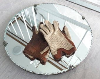 Vintage Brown Soft Leather and Fabric Driving Gloves with  Women's S - M / 1940s Style