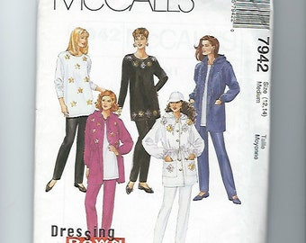 UNCUT Sewing Pattern McCalls 7942 for Jacket, Tunic and Pants, 1990s, Sz 12, 14