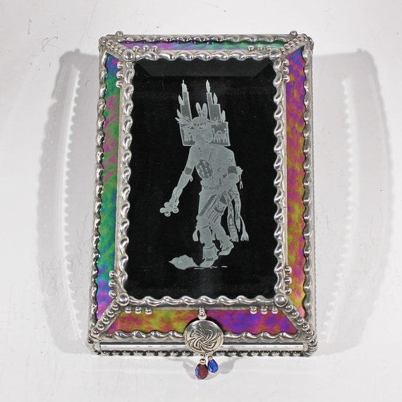 Hopi, Etched,  Kachina, Dancer, Souvenir Box, Memorabilia Case, Collection Display, Indian, Native American, Southwest, Stained Glass