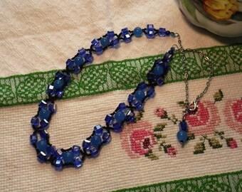 Blue Jade Cross Weave Beaded Crystal Necklace