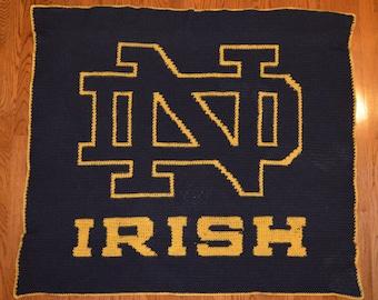 Notre Dame Irish Handmade Afghan - One of a kind!!