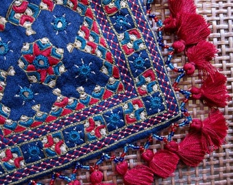 Embroidered Sling/Clutch - Blue and Red #2