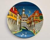 Vintage Poole Pottery Wall Plate, Plaque, Barbara Furstenhof Illustration.