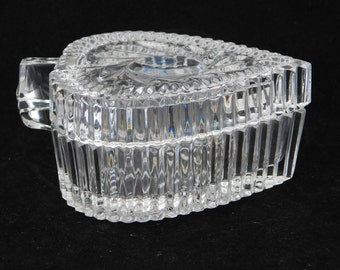 Crystal Trinket Box, Lead Crystal Glass Heart or Leaf shape Box, Jewelry Box, Made in Poland