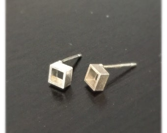 Tiny  square stud earrings, small studs